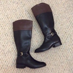 🆕 Ralph Lauren black brown leather tall boots- WC